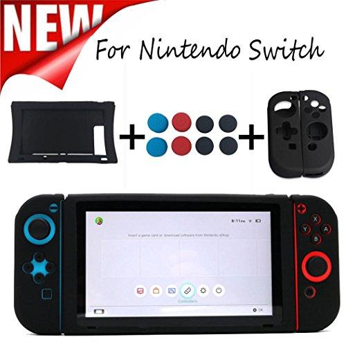 Price comparison product image 2PCS Silicone Case Cover+1PCS Host Silicone Case Cover+8PCS Rocker Cap For Nintendo Switch , Tuscom