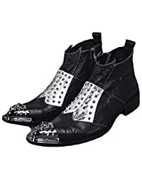 US Size 5-12 Studded Black Leather Mens Zip Dress Steel Toe Ankle Boots Shoes