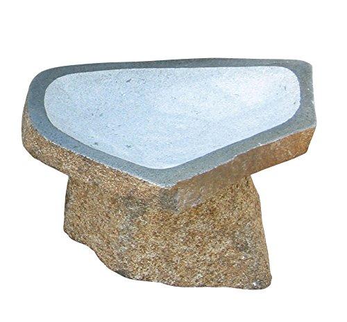 Fern Garden Birdbath - Stone Age Creations BB-BO-4 Granite Boulder Birdbath, Natural, Small