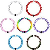 Limited Edition New Silicone Beaded Bracelet Transparent With Water from Mount Everest Set of 7 (Small, Blue+Purple+Pink+Camo+Neon+Red+White)