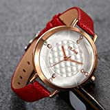 Lancardo 30M Water Resistant Ladies Crystal Marker Slim Leather Bangle Japanese Quartz Watch(Red)