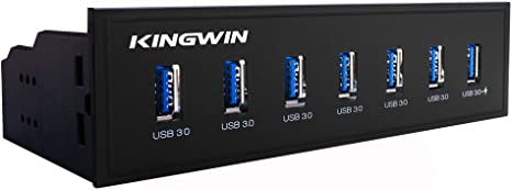 Kingwin Front Panel USB 3.0 Hub 7 Port Include One Fast Charging USB 2.1A Charging Port. For PC, USB Flash Drives, Transfer Speed up to 5 Gbps, Fits ...