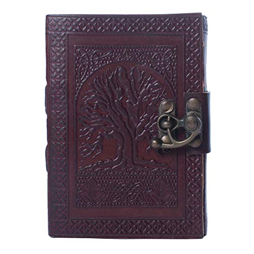 (Dios Handmade Leather Journals Tree of Life Antique Design Dark Brown Genuine Dairy with Attractive Brass Lock for Writing Sketching Travelling (10 x 7.10 Inches))