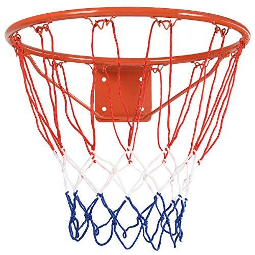 "GYMAX Basketball Rim, 18"" Wall Door Mounted Basketball Rim Goal Net Basketball Hoop, for Indoor Outdoor"
