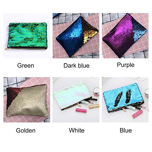 Cosmetic Handbag Envelope Mermaid Large Women Capacity Bag Bags Pouch BlingBling Cutogain Evening Purple Sequins q04wtxzzA