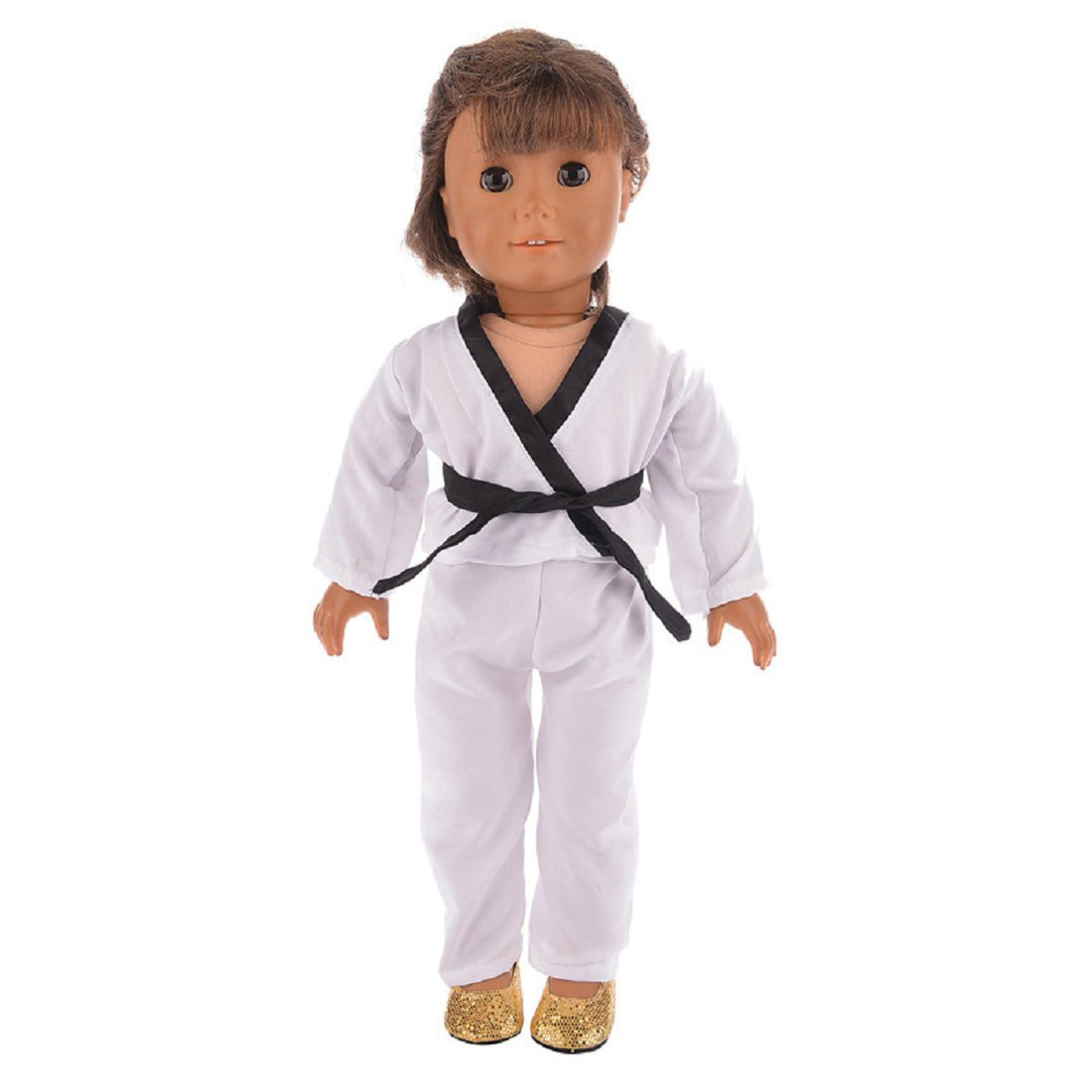 for 18inch Our Generation for American Girl Doll NA02 Lidianzhi DollNew02 Green Pants and 5 Belts red Blue and Black White Karate // Tae Kwon Do Outfit Includes Blouse Yellow