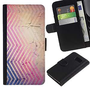 Billetera de Cuero Caso Titular de la tarjeta Carcasa Funda para Samsung Galaxy S6 SM-G920 / Cracked Pink Blue Brown Red / STRONG