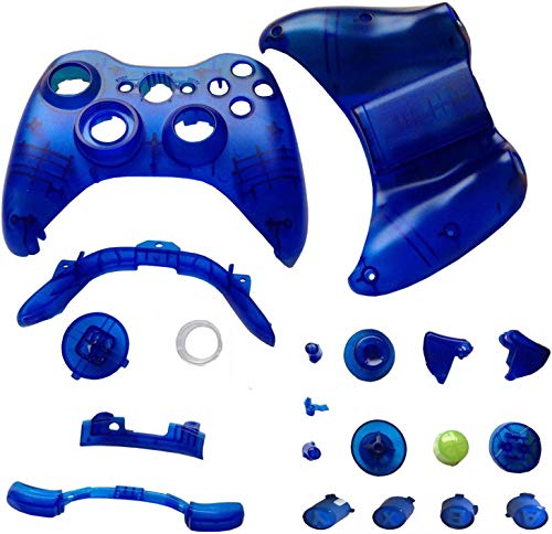 EGME Clear Blue Replacment Shell and Buttons Kit for Xbox 360 Wireless Controller