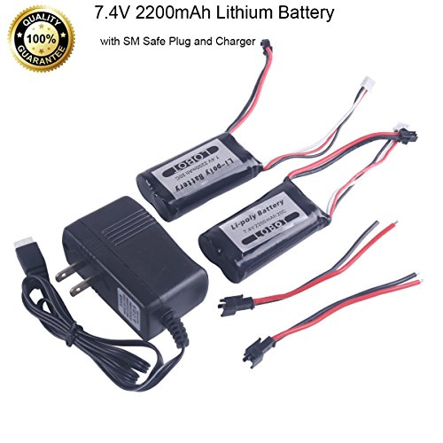 MakerFocus 2pcs 7.4V 2200mAh Lithium Battery SM Safe Plug Long Life 20C Lithium Battery and A Charger for Quadruped Robot, 17-DOF Humanoid Robot and Hexapod Robot