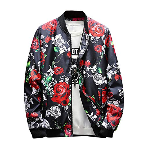 NREALY Jacket Mens Spring Fall Stand Collar Retro Printed Zipper Jacket Coat Outwear Overcoat(XL, Multicolor)