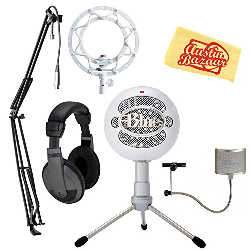 Blue Snowball USB Microphone - Ice Bundle with Blue Ringer Shock Mount, Pop Filter, Boom Arm, Headphones, and Austin Bazaar Polishing ()