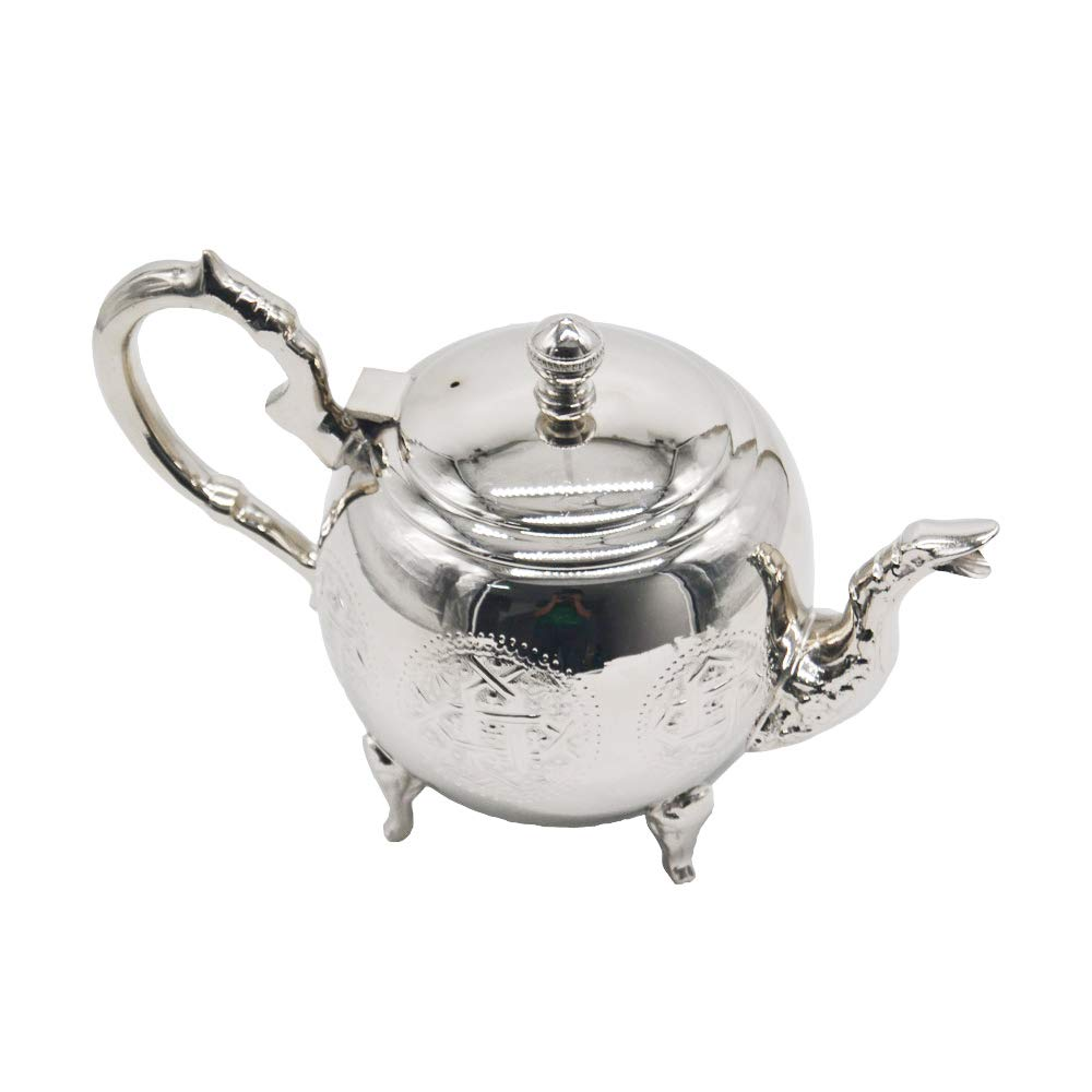 Horus Artesanía de Egipto Teapot Model Morocco No 8. Handmade German Silver. It Weighs Almost 1 kg. 1 Liter Capacity. It Measures 25 cm x 15 cm x 17 cm. B07PNWJ1R6
