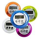 Countdown Timer Alarm - Round Magnetic Lcd Kitchen Mini Countdown Timer Alarm Stand - Game Termometer Sport Thermometer Light-Emitting Diode Loud Electronic Cooking Display Clock - 1PCs