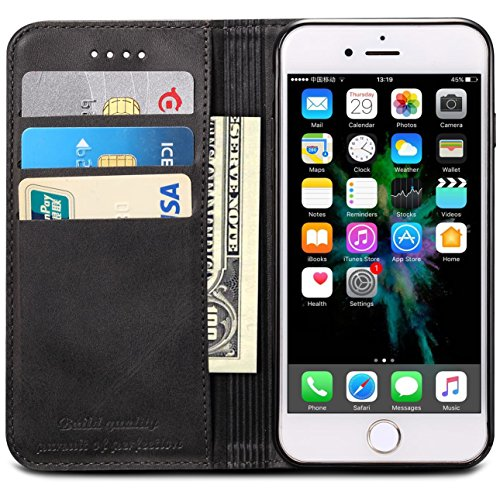 iPhone XR Case, SINIANL Premium Leather Wallet Case Business Credit Card Holder Folio Flip Cover for iPhone XR 6.1 inch 2018 - Black ()
