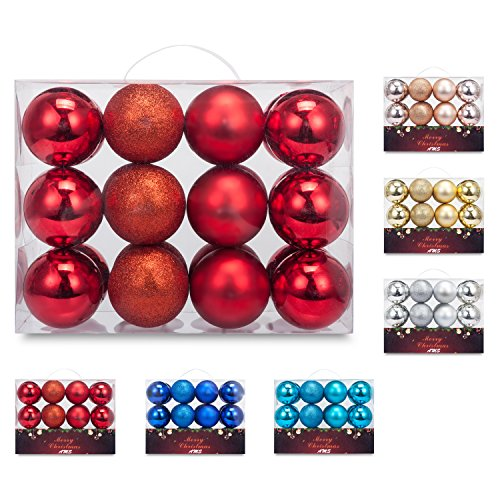 AMS Christmas Ball Pendant Ornaments Hanging Trees Pretty Decorations 80mm/3.14(24ct, Red)
