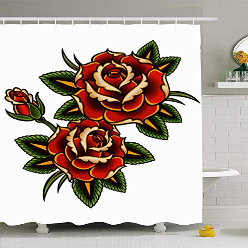 (Ahawoso Shower Curtain 66x72 Inches Summer Red Flower Tattoo Roses Pink Vine Thorn Pattern Border Outline Design Curl Waterproof Polyester Fabric Set with Hooks)