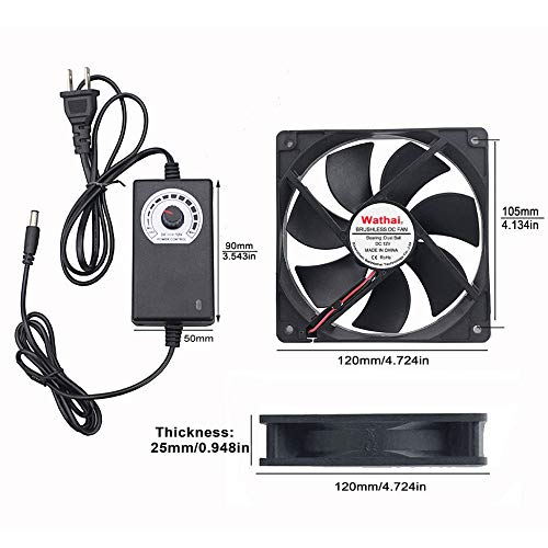 Wathai 120mm x 25mm 110V 220V AC Powered Fan with Speed Controller 3V to 12V for Receiver DVR Playstation Xbox Component Cooling