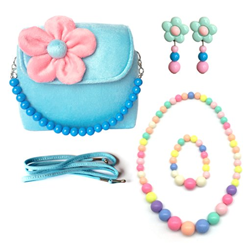 Elesa Miracle Little Girl Bag Beauty Set Plush Handbag + Flower-Shaped Clip-on Earrings + Necklace and Bracelet Set (Blue)