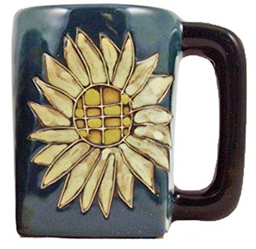 One (1) MARA STONEWARE COLLECTION - 12 Oz Coffee Cup Collectible Square Bottom Dinner Mug - Sunflower Design (Design 12 Oz Ceramic Mug)