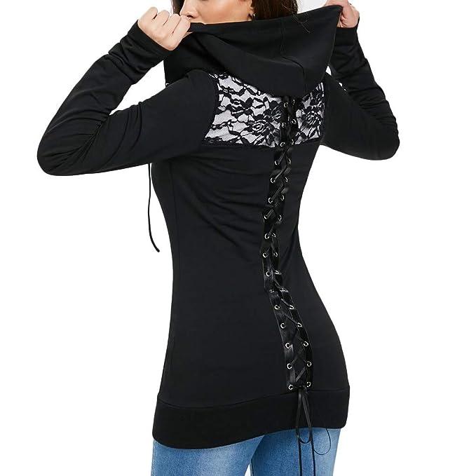 Mujer Sudaderas con Capucha de Manga Larga Patchwork de Encaje Abrigo de Cremallera Suéter con Cordones Sexy Camiseta Blusas Gusspower: Amazon.es: Ropa y ...