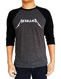 Metallica Original Logo Baseball Tee Raglan 3/4 Sleeve Men's T Shirt
