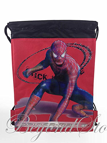 Marvel Amazing Spider-man Black/Red Drawstring Backpack Tote Bag