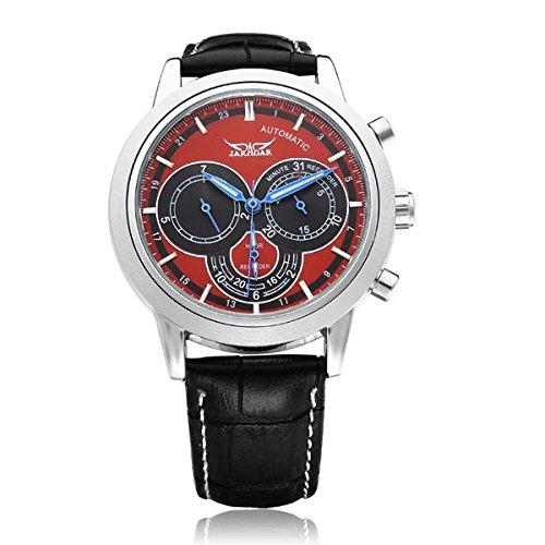 JARAGAR 3 Dial mecánico automático Negro Rojo Hombres reloj de pulsera.