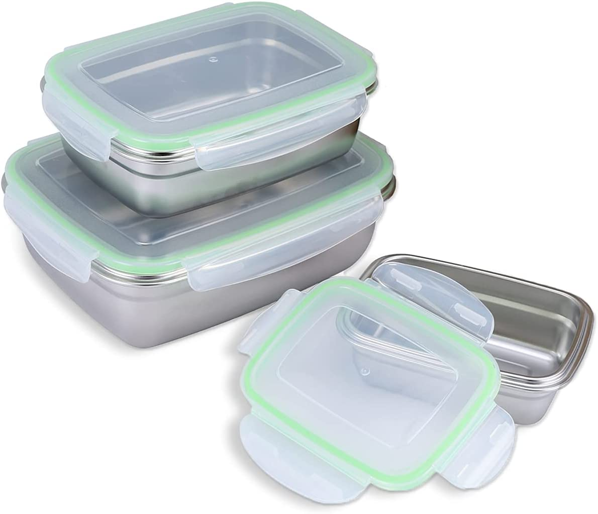 ANDMOON Food Storage Containers, Airtight & Leak Proof Lunch Stackable Bento Boxes with Lids, Stainless Steel Meal Prep Container for Kitchen, Home Use and Travel - 3PCS