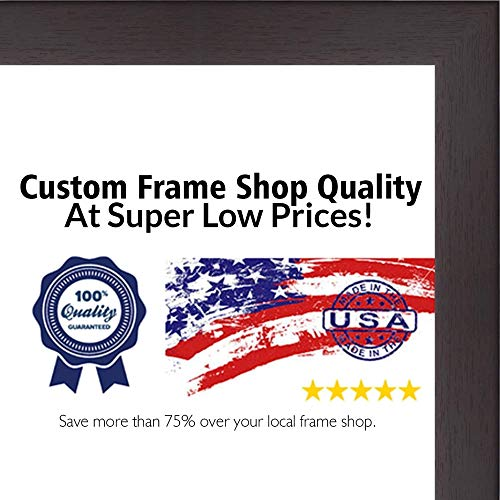 (Poster Palooza 28x36 Rustic Cappuccino Wood Picture Frame - UV Acrylic, Foam Board Backing, Hanging Hardware Included!)