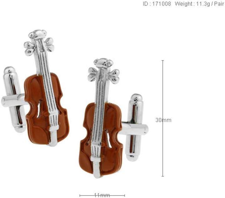 ESCYQ Gemelos,Gemelos Unisex Elegante Violín Stradivarius Marrón Música Negocio Uñas Camisa Gemelos Novio Coat Accesorios Nupcial