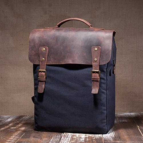- Waxed Vintage Canvas Leather Backpack - Handmade with Highest Quality UK Waxed Cotton & Alcanena Leather - Hipster Rucksack Satchel with Waterproof Lining & Elegant Design for School Travel & Outdoor
