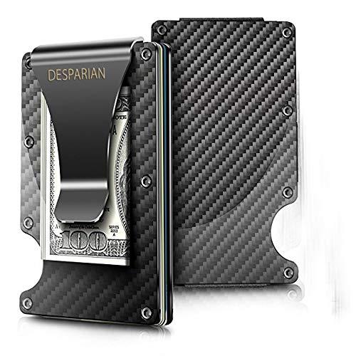 "Minimalist Carbon Fiber Slim Wallet | RFID Blocking Front Pocket Wallet | Carbon Fiber Money Clip | Credit Card Holder for Men and Women | The Perfect Gift ""Money Clip"" | 2018 New Version by Desparian"