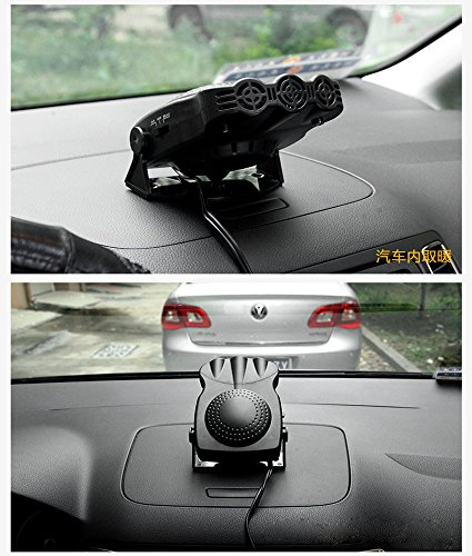 Black cjc 12V 150W Car Vehicle Cooling Fan Hot Warm Heater Windscreen Demister Defroster 2 in1 Portable Auto Car Van Heater
