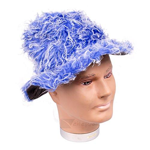 Funky Pimp Costumes (Veil Entertainment Fuzzy Pimp Costume Brim Hat, Blue, One-Size)