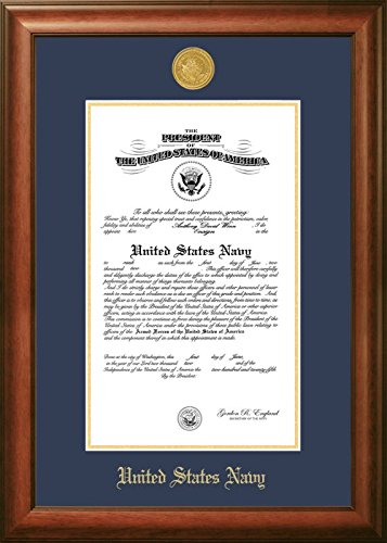 Campus Images NACSW002 Navy Certificate Frame with Gold Medallion, 10'' x 14'', Walnut