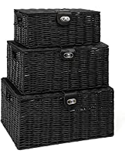ViDiStorex Set of Three Resin Woven Storage Basket Box with Attached Lid & Lock, White, Large, Medium and Small. Decorative 3-Pack Hamper Basket, Ideal for Home Organization and Kids Room (Black)