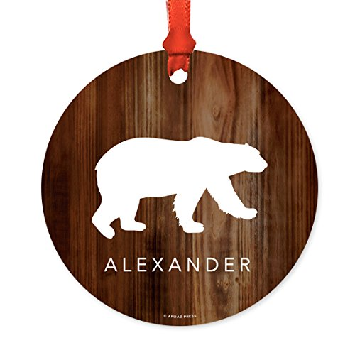 Andaz Press Fully Personalized Metal Christmas Ornament, Polar Bear, 1-Pack, Includes Ribbon and Gift Bag, Custom Name