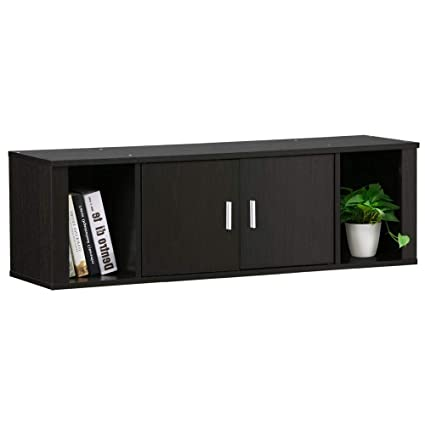 Magnificent Topeakmart Wall Mounted Floating Media Storage Cabinet Hanging Desk Hutch 2 Door Compartment Home Office Furniture Home Interior And Landscaping Transignezvosmurscom