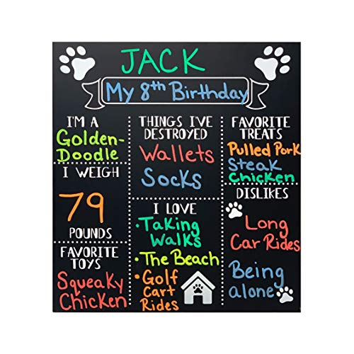 JennyGems - Dog Milestone Chalkboard Sign - Monthly Puppy Photo Props - (Use Actual Dry Chalk) - for Dogs and Puppies- Fur Babies - Dog Birthday Supplies Decorations - Puppy Party -