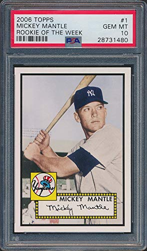 (2006 Topps 1952 Rookie of Week #1 Mickey Mantle Baseball Card Graded PSA 10)