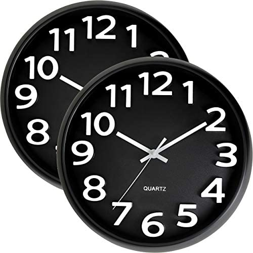 Bernhard Products Large Black Wall Clock 2 Pack Silent Non Ticking – 13 Inch Quality Quartz Battery Operated Round Modern Style Easy to Read for Office Home Living Room Classroom School, White Numbers