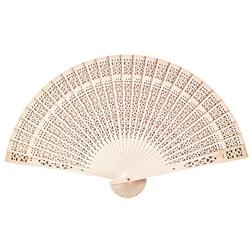 Chinese Sandalwood Scented Wooden Openwork Personal Hand Held Folding Fans for Wedding Decoration, Birthdays, Home Gifts by Super Z Outlet (12 Pack) - Make Chinese Fan