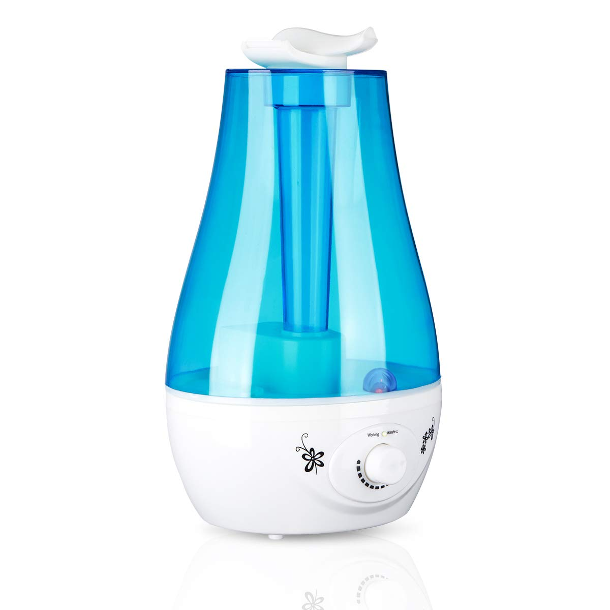 Cool Mist Humidifier, 360 Degree Rotary Ultrasonic Air Humidifier Diffuser Aromatherapy Water Mist Humidifier with Colorful LED Light 3L 250ml/h Cocoarm