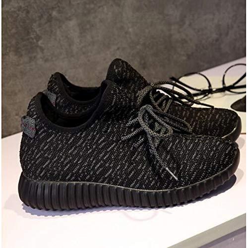 Mujer Punta Heel Tejido elástico Zapatos Black Verano con Cerrado de con Blanca Comfort Sneakers Flat Negra Primavera ZHZNVX 6qwEU11