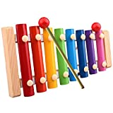 Baby Kids Musical Toys Gifts, BURFLY Child 8-Notes Xylophone Wisdom Development Puzzle Toys Rainbow Colors Wooden Instrument Toys for 6 Months-7 Years Old Boys Girls (Multicolour, 22.5x12.5x2.5 CM)