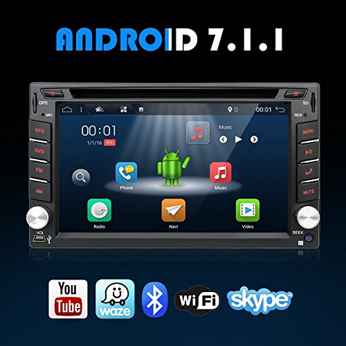 128 Plants (Android 7.1 WIFI Model 4-Core 2G RAM 16G ROM Double din Car dvd Player Stereo GPS Navigation for Universal car With Free Camera Support Mirror Link/DAB/OBD/Bluetooth/FM/AM/SD USB Up to 128GB)