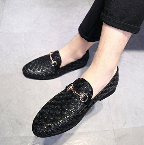 on Metal Loafer Smoking Slipper Moccasins Mens Black Fashion Buckle Slip Shoes Dress Santimon Casual p8axq