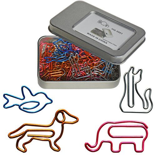 Office Clip Desk (Cool Paper Clips Assorted Colors - Animal Shaped Bookmark Clips - Funny Desk Accessories Office Supplies Decor Gift Birthday Gift for Women)