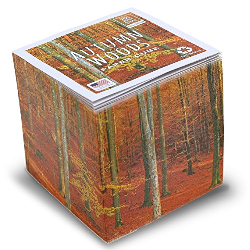 "Autumn Woods Note Cube with white pages - not sticky 3.5""x3.5"
