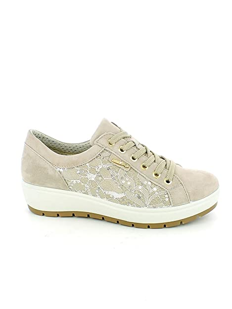 the best attitude cec6a b47ac ENVAL SOFT 3265033 Scarpe in Pelle Pizzo Stringate Sneakers Donna Beige